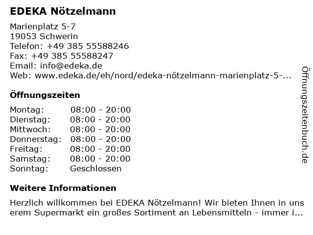 EDEKA Nötzelmann in Schwerin: Adresse und Öffnungszeiten