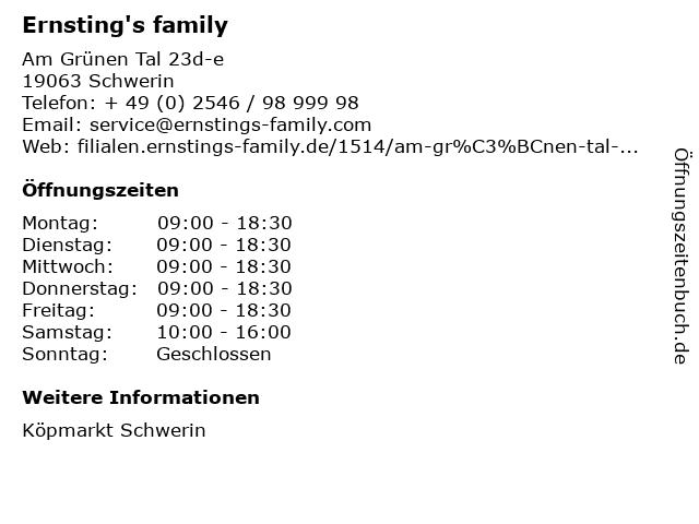 Ernsting's family in Schwerin: Adresse und Öffnungszeiten