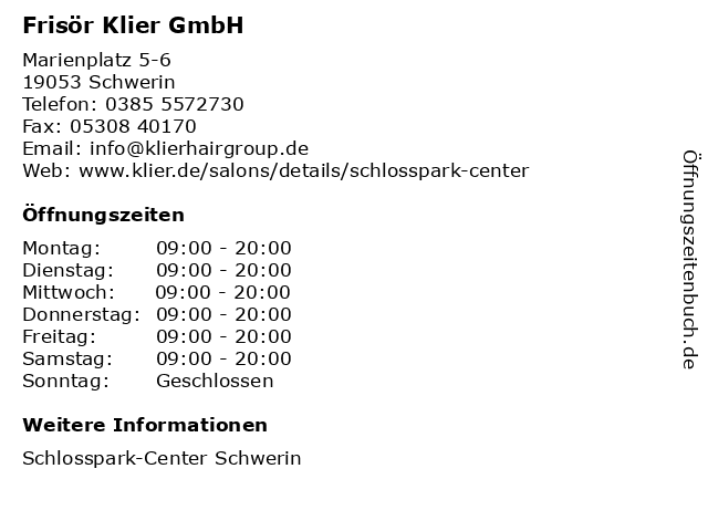 Frisör Klier GmbH in Schwerin: Adresse und Öffnungszeiten
