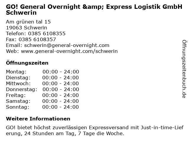 GO! General Overnight & Express Logistik GmbH Schwerin in Schwerin: Adresse und Öffnungszeiten