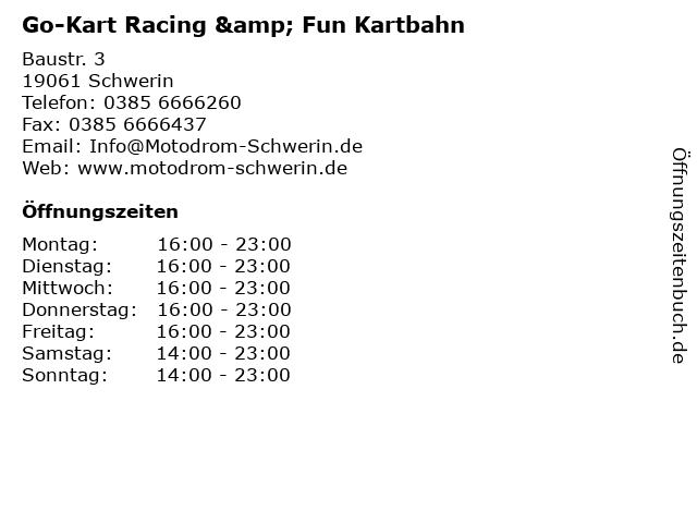 Go-Kart Racing & Fun Kartbahn in Schwerin: Adresse und Öffnungszeiten
