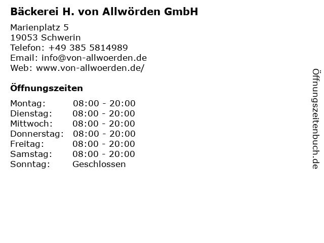H. von Allwörden GmbH in Schwerin: Adresse und Öffnungszeiten