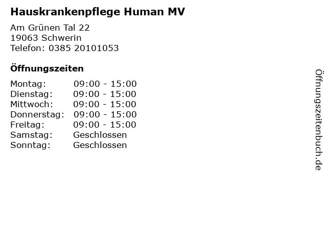 Hauskrankenpflege Human MV in Schwerin: Adresse und Öffnungszeiten