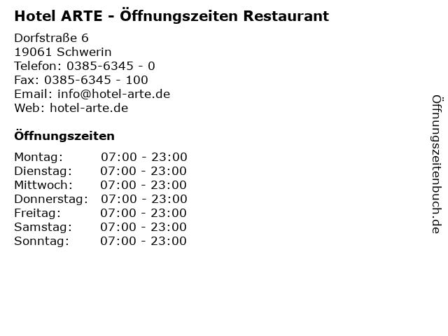 Hotel ARTE - Öffnungszeiten Restaurant in Schwerin: Adresse und Öffnungszeiten