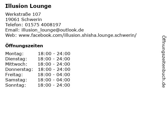 Illusion Lounge in Schwerin: Adresse und Öffnungszeiten