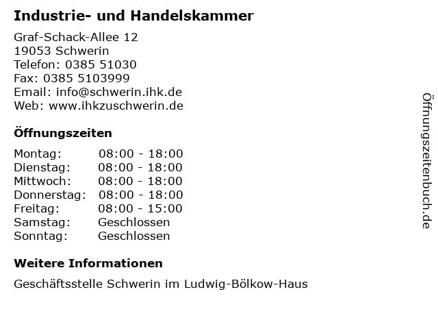 Industrie- und Handelskammer in Schwerin: Adresse und Öffnungszeiten