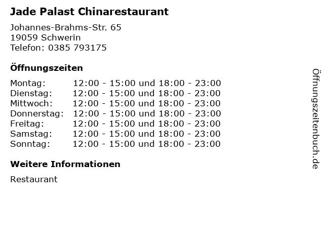 Jade Palast Chinarestaurant in Schwerin: Adresse und Öffnungszeiten