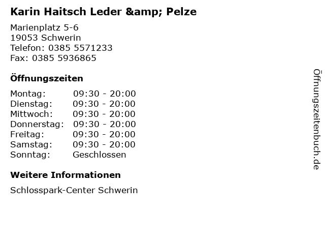 Karin Haitsch Leder & Pelze in Schwerin: Adresse und Öffnungszeiten