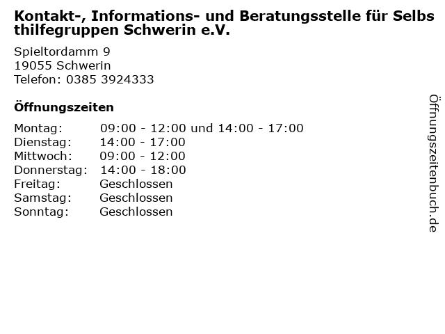 Kontakt-, Informations- und Beratungsstelle für Selbsthilfegruppen Schwerin e.V. in Schwerin: Adresse und Öffnungszeiten