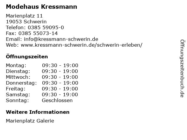 Kressmann Schwerin GmbH & Co. KG in Schwerin: Adresse und Öffnungszeiten