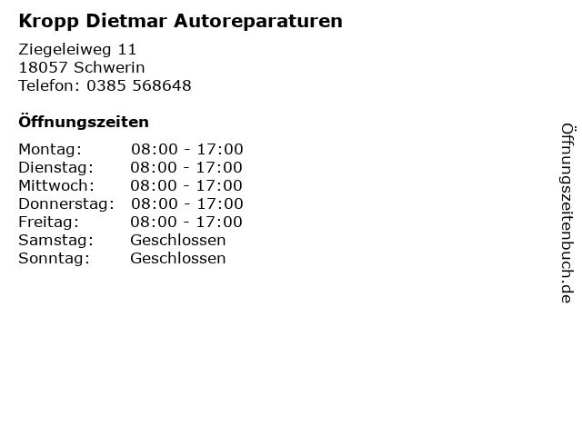 Kropp Dietmar Autoreparaturen in Schwerin: Adresse und Öffnungszeiten