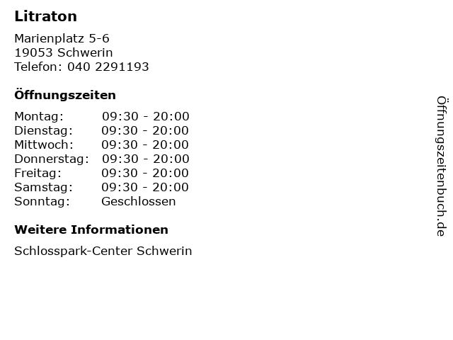 Litraton in Schwerin: Adresse und Öffnungszeiten
