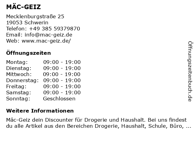 Mäc Geiz in Schwerin: Adresse und Öffnungszeiten