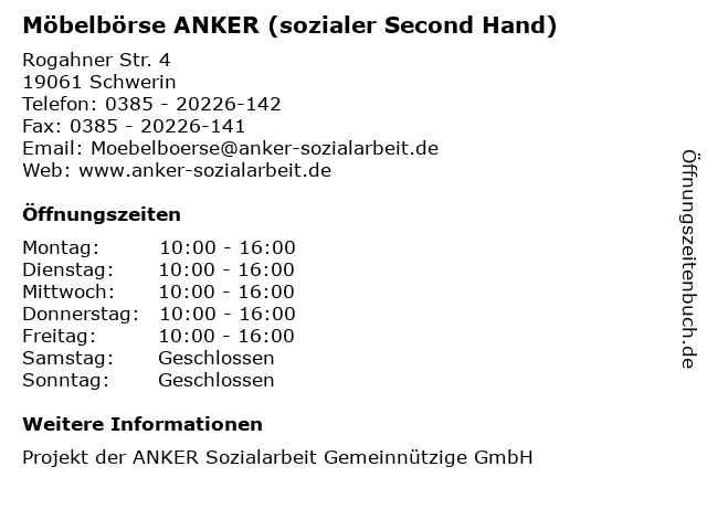 Möbelbörse ANKER (sozialer Second Hand) in Schwerin: Adresse und Öffnungszeiten