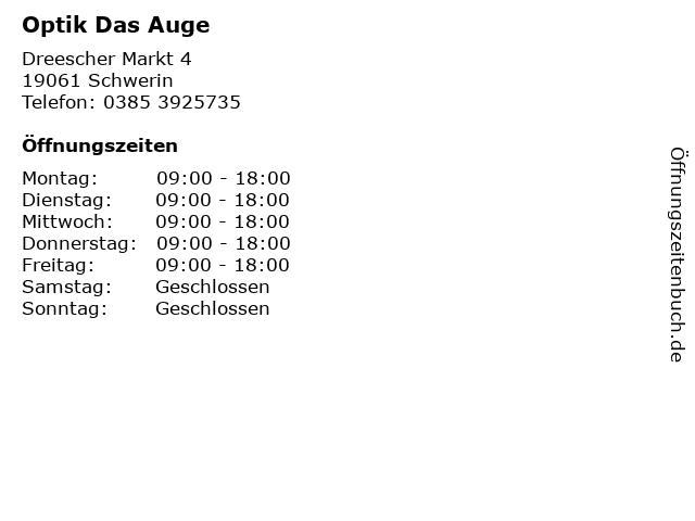 Optik Das Auge in Schwerin: Adresse und Öffnungszeiten