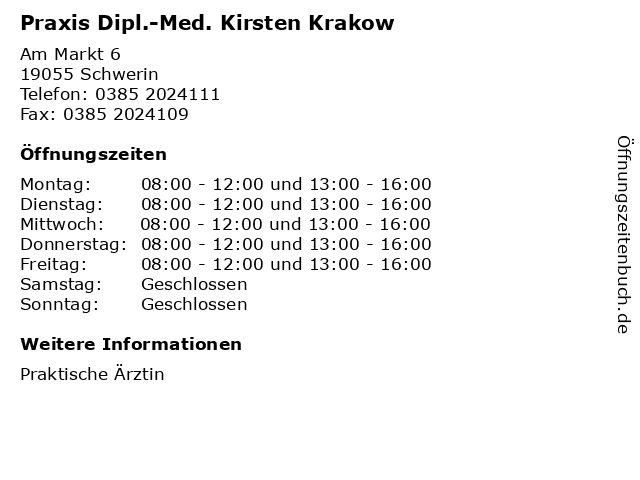 Praxis Dipl.-Med. Kirsten Krakow in Schwerin: Adresse und Öffnungszeiten