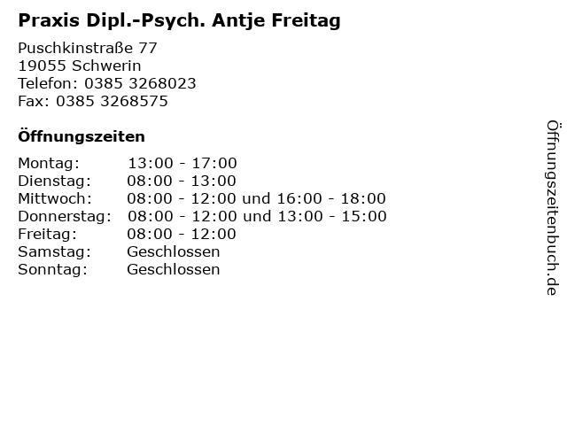 Praxis Dipl.-Psych. Antje Freitag in Schwerin: Adresse und Öffnungszeiten