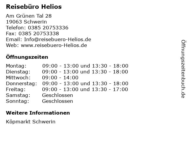 Reisebüro Helios in Schwerin: Adresse und Öffnungszeiten