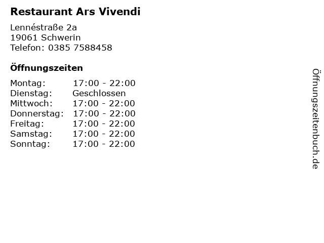 Restaurant Ars Vivendi in Schwerin: Adresse und Öffnungszeiten