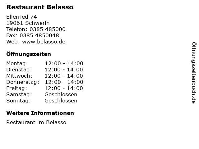 Restaurant Belasso in Schwerin: Adresse und Öffnungszeiten