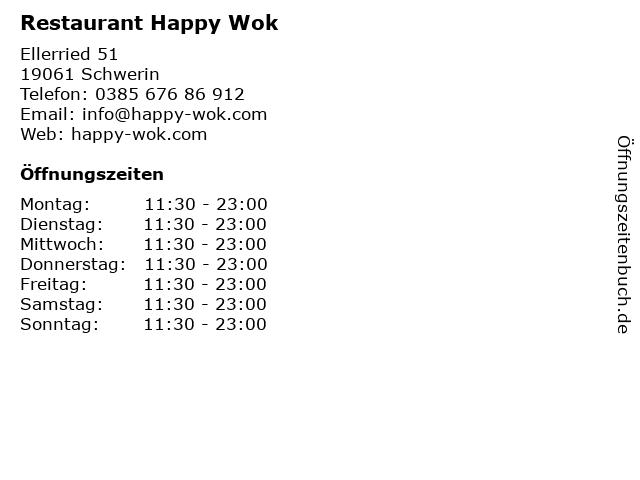 Restaurant Happy Wok in Schwerin: Adresse und Öffnungszeiten