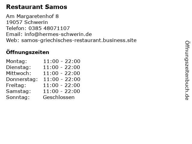Restaurant Samos in Schwerin: Adresse und Öffnungszeiten