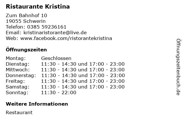Ristaurante Kristina in Schwerin: Adresse und Öffnungszeiten