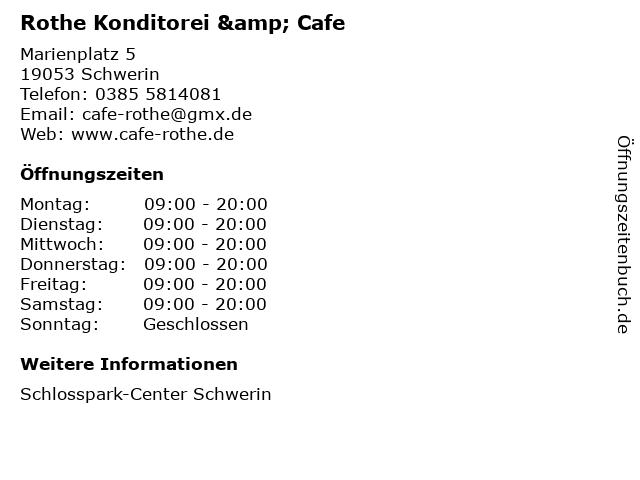 Rothe Konditorei & Cafe in Schwerin: Adresse und Öffnungszeiten