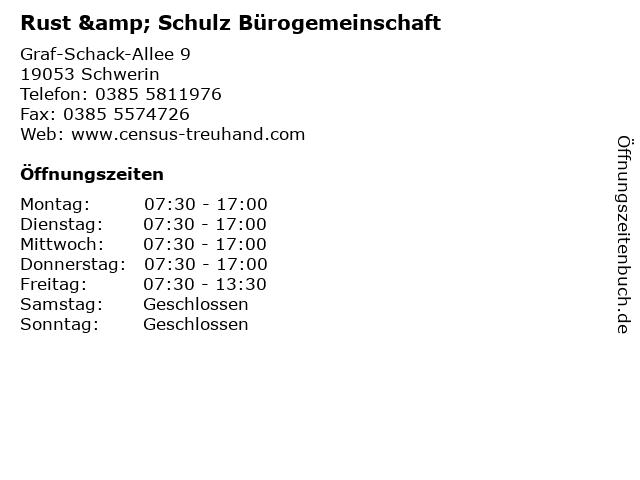 Rust & Schulz Bürogemeinschaft in Schwerin: Adresse und Öffnungszeiten