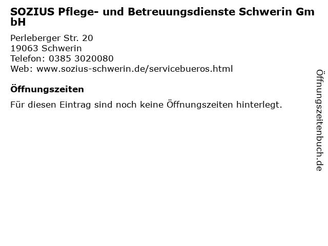 SOZIUS Pflege- und Betreuungsdienste Schwerin GmbH in Schwerin: Adresse und Öffnungszeiten