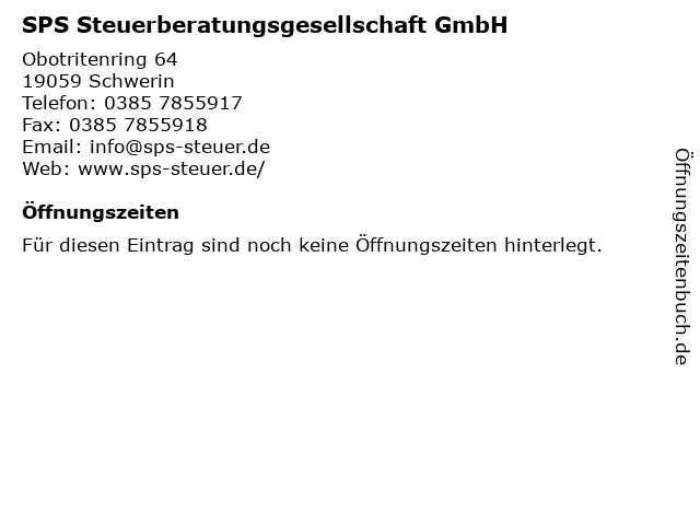 SPS Steuerberatungsgesellschaft GmbH in Schwerin: Adresse und Öffnungszeiten