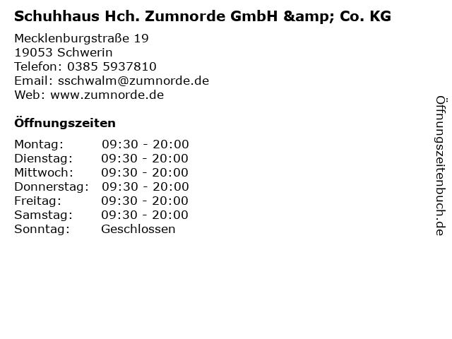 Schuhhaus Hch. Zumnorde GmbH & Co. KG in Schwerin: Adresse und Öffnungszeiten
