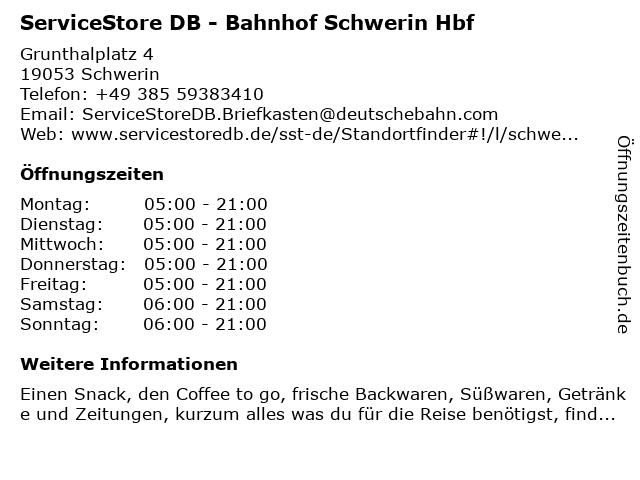 ServiceStore DB - Hauptbahnhof Schwerin in Schwerin: Adresse und Öffnungszeiten