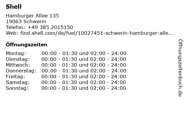 Shell Station - Tankwart-Service in Schwerin: Adresse und Öffnungszeiten