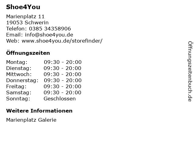 Shoe4You GmbH & Co. KG in Schwerin: Adresse und Öffnungszeiten