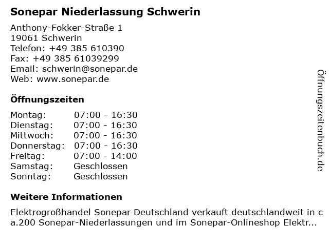 Sonepar Niederlassung Schwerin in Schwerin: Adresse und Öffnungszeiten
