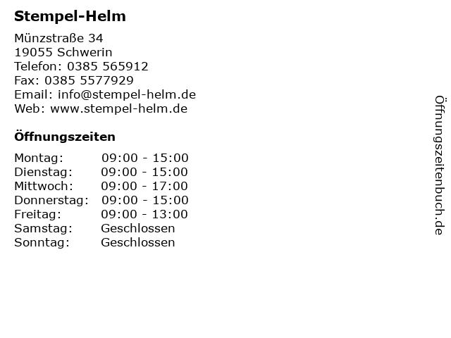 Stempel-Helm in Schwerin: Adresse und Öffnungszeiten