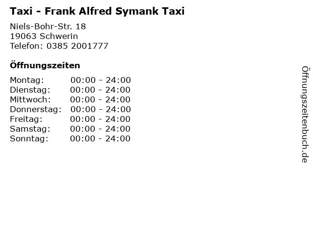 Taxi - Frank Alfred Symank Taxi in Schwerin: Adresse und Öffnungszeiten