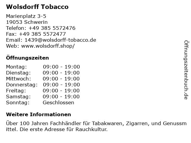 Wolsdorff Tobacco in Schwerin: Adresse und Öffnungszeiten