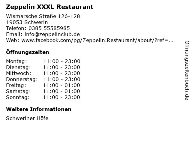 Zeppelin XXXL Restaurant in Schwerin: Adresse und Öffnungszeiten