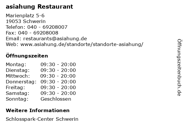 asiahung Restaurant in Schwerin: Adresse und Öffnungszeiten
