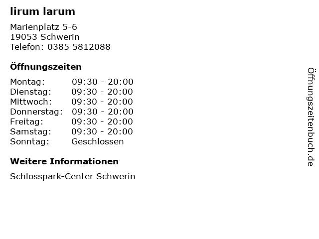 lirum larum in Schwerin: Adresse und Öffnungszeiten