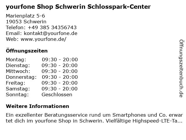 yourfone Shop Schwerin Schlosspark-Center in Schwerin: Adresse und Öffnungszeiten