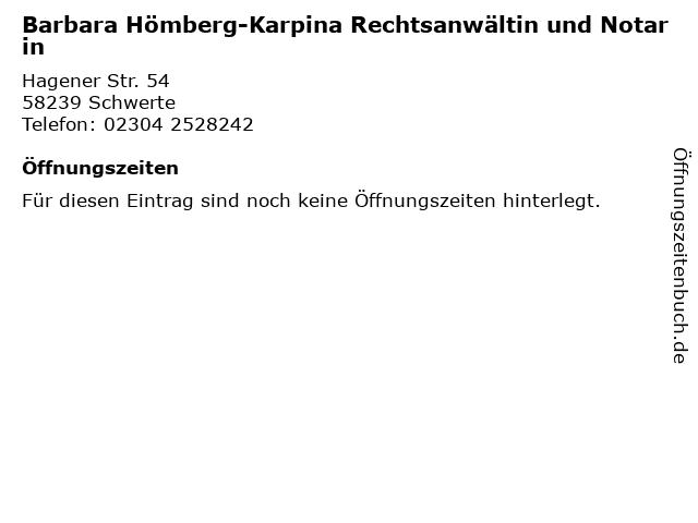 Barbara Hömberg-Karpina Rechtsanwältin und Notarin in Schwerte: Adresse und Öffnungszeiten