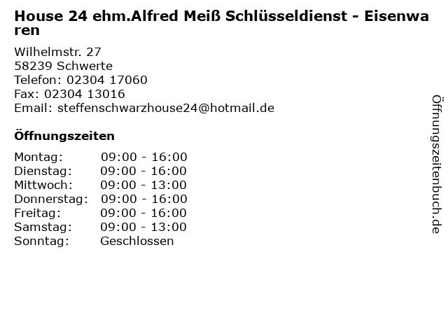 House 24 ehm.Alfred Meiß Schlüsseldienst - Eisenwaren in Schwerte: Adresse und Öffnungszeiten