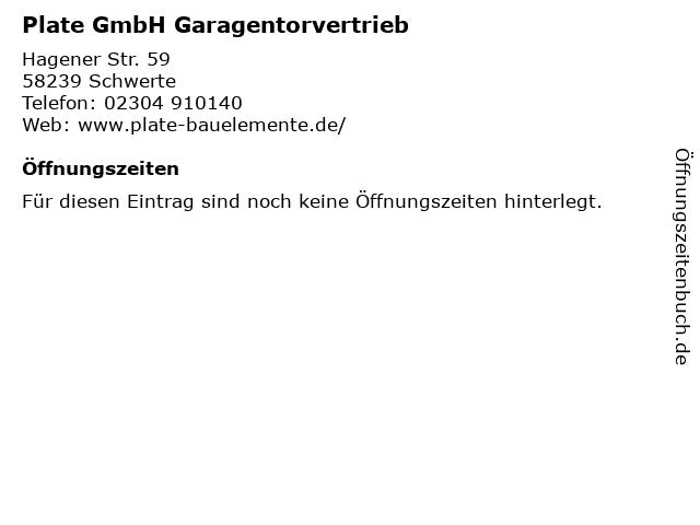 Plate GmbH Garagentorvertrieb in Schwerte: Adresse und Öffnungszeiten