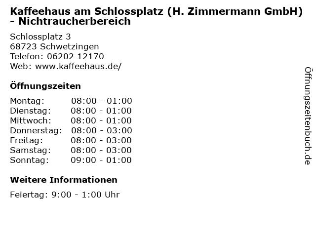 Kaffeehaus am Schlossplatz (H. Zimmermann GmbH) - Nichtraucherbereich in Schwetzingen: Adresse und Öffnungszeiten