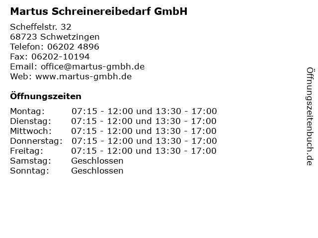 Martus Schreinereibedarf GmbH in Schwetzingen: Adresse und Öffnungszeiten