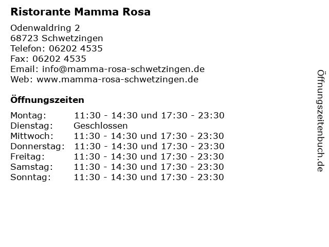 Ristorante Mamma Rosa in Schwetzingen: Adresse und Öffnungszeiten
