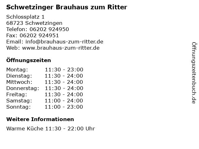 Schwetzinger Brauhaus zum Ritter in Schwetzingen: Adresse und Öffnungszeiten
